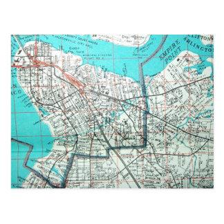 JACKSONVILLE, FL Vintage Map Postcard