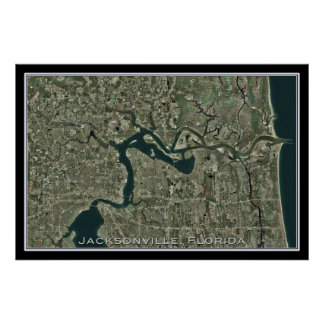 Jacksonville Florida From Space Satellite Map Poster