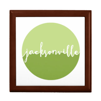 Jacksonville, Florida | Green Ombre Circle Large Square Gift Box