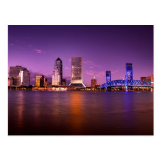Jacksonville Florida Skyline at Night Postcard