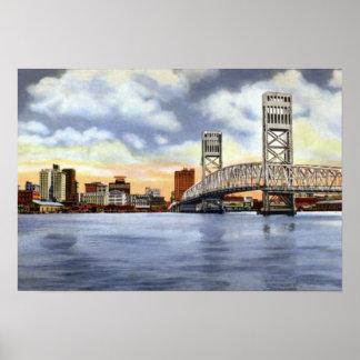 Jacksonville Florida Skyline Main Street Bridge Poster