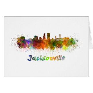 Jacksonville skyline in watercolor card