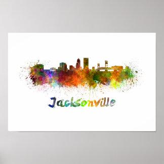 Jacksonville skyline in watercolor poster