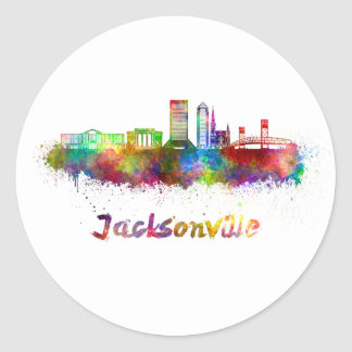 Jacksonville V2 skyline in watercolor Classic Round Sticker