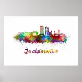 Jacksonville V2 skyline in watercolor Poster