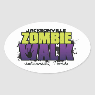 Jacksonville Zombie Walk Logo Decal Oval Sticker