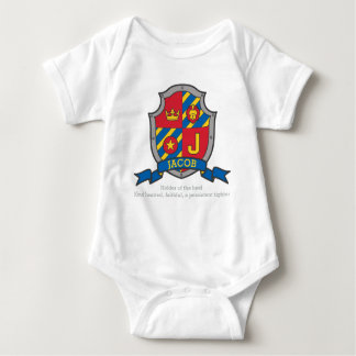 Jacob J letter name meaning crest knights shield Baby Bodysuit