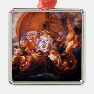Jacob Jordaens- The Holy Family in a boat Christmas Ornament