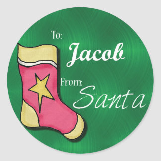 Jacob Personalized Christmas Label62 Round Sticker
