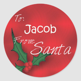 Jacob Personalized Holly Label62 Classic Round Sticker