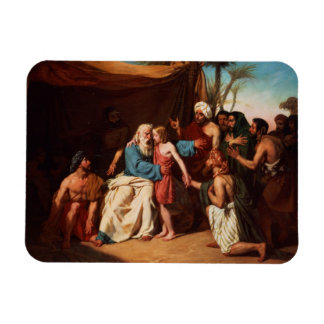 Jacob refusing to release Benjamin, 1829 (oil on c Rectangular Photo Magnet