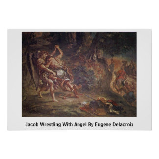 Jacob Wrestling With Angel By Eugene Delacroix Poster