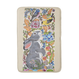 Jacobean Floral Bunny Rabbit and Birds Bath Mat