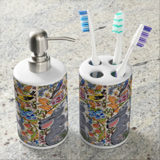 Jacobean Floral Bunny Rabbit Toothbrush & Soap Set