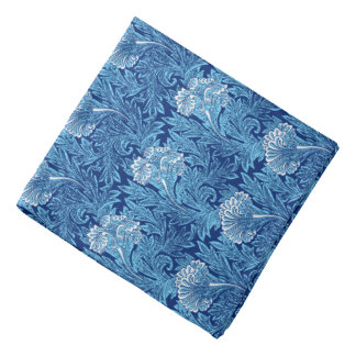 Jacobean Flower Damask, Cobalt and Light Blue Bandana