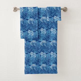 Jacobean Flower Damask, Cobalt and Light Blue Bath Towel Set