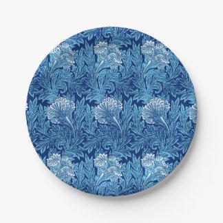 Jacobean Flower Damask, Cobalt and Light Blue Paper Plate