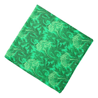 Jacobean Flower Damask, Emerald and Lime Green Bandana