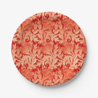 Jacobean Flower Damask, Mandarin and Light Orange Paper Plate