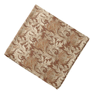 Jacobean Flower Damask, Taupe Tan and Cream Bandana
