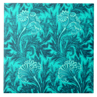Jacobean Flower Damask, Turquoise and Teal Blue Large Square Tile