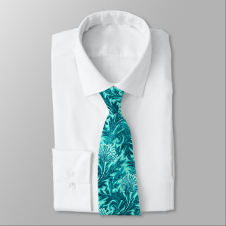 Jacobean Flower Damask, Turquoise and Teal Blue Tie