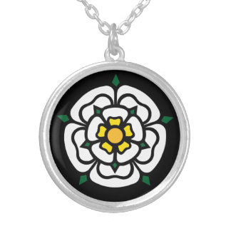Jacobite - Stuart - York Rose Silver Plated Necklace