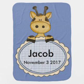 Jacob's Personalized Giraffe Baby Blanket