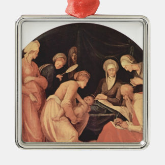 Jacopo Pontormo- Birth of John the Baptist Silver-Colored Square Decoration