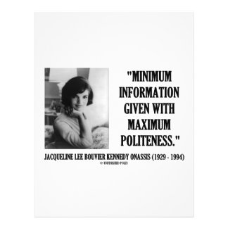 Jacqueline Kennedy Minimum Information Politeness Personalized Flyer