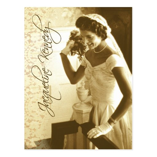 Jacqueline Kennedy throwing her wedding bouquet Post Cards