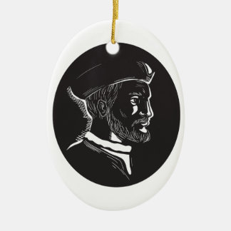 Jacques Cartier French Explorer Oval Woodcut Ceramic Ornament