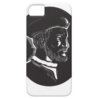 Jacques Cartier French Explorer Oval Woodcut iPhone 5 Cover