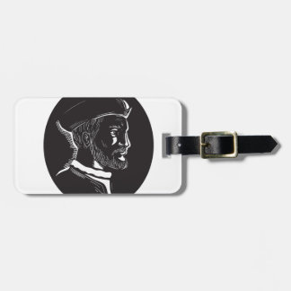 Jacques Cartier French Explorer Oval Woodcut Luggage Tag