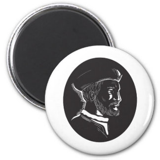 Jacques Cartier French Explorer Oval Woodcut Magnet