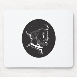 Jacques Cartier French Explorer Oval Woodcut Mouse Pad
