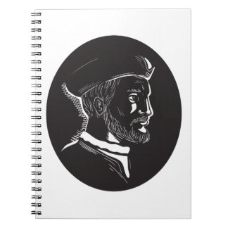 Jacques Cartier French Explorer Oval Woodcut Notebook