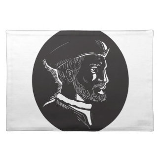 Jacques Cartier French Explorer Oval Woodcut Placemat