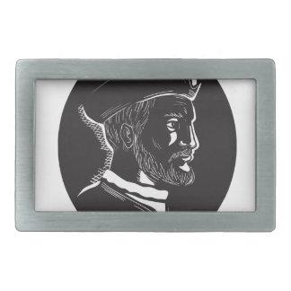 Jacques Cartier French Explorer Oval Woodcut Rectangular Belt Buckles
