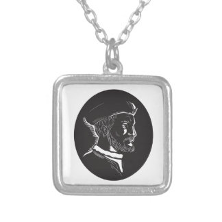 Jacques Cartier French Explorer Oval Woodcut Silver Plated Necklace