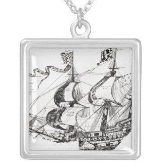 Jacques Cartier's ship, 'Rarete Indes Silver Plated Necklace
