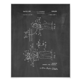 Jacques Cousteau Diving Apparatus Patent - Chalkbo Poster