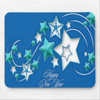 Jade and Blue Happy New Year Shooting Stars Mouse Pad