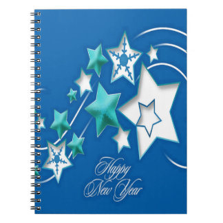 Jade and Blue Happy New Year Shooting Stars Notebooks