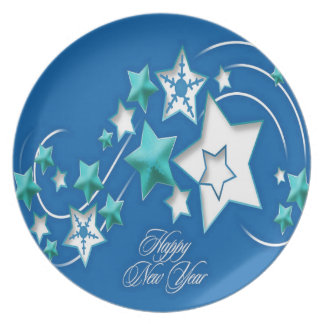 Jade and Blue Happy New Year Shooting Stars Plate