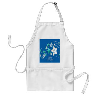 Jade and Blue Happy New Year Shooting Stars Standard Apron