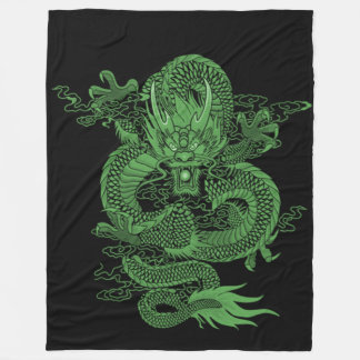 Jade Chinese Emperor Dragon Fleece Blanket