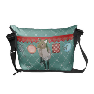 Jade Deer & Butterflies Messenger Courier Bag