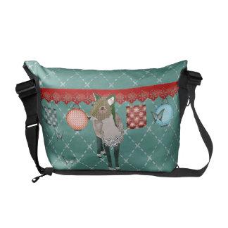 Jade Deer & Butterflies Messenger Messenger Bags