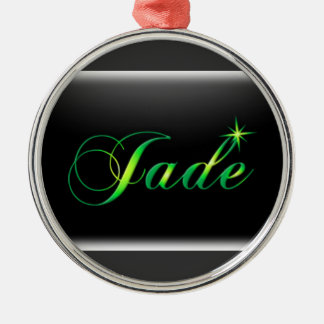 Jade Dog Tag Silver-Colored Round Decoration